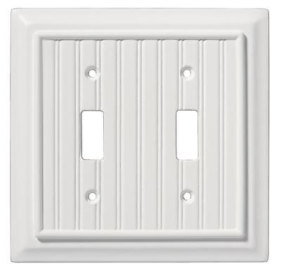 Double Switch Plate Architectural Beadboard White Brainerd 126359