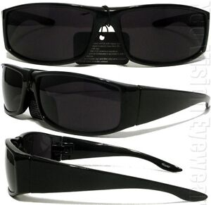 Gangster Black Cholo Wrap Sunglasses Super Dark Lens OG LOC Lowrider Style 22SD