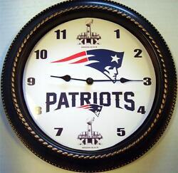 CUSTOM MADE NFL NEW ENGLAND PATRIOTS SUPER BOWL 49 12 WALL CLOCK - NEW IN BOX