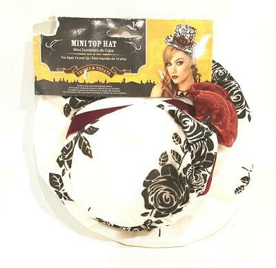 New Costume Black and White Hair Mini Top Hat w/ Burgundy Rose - NWT - Black And White Top Hat