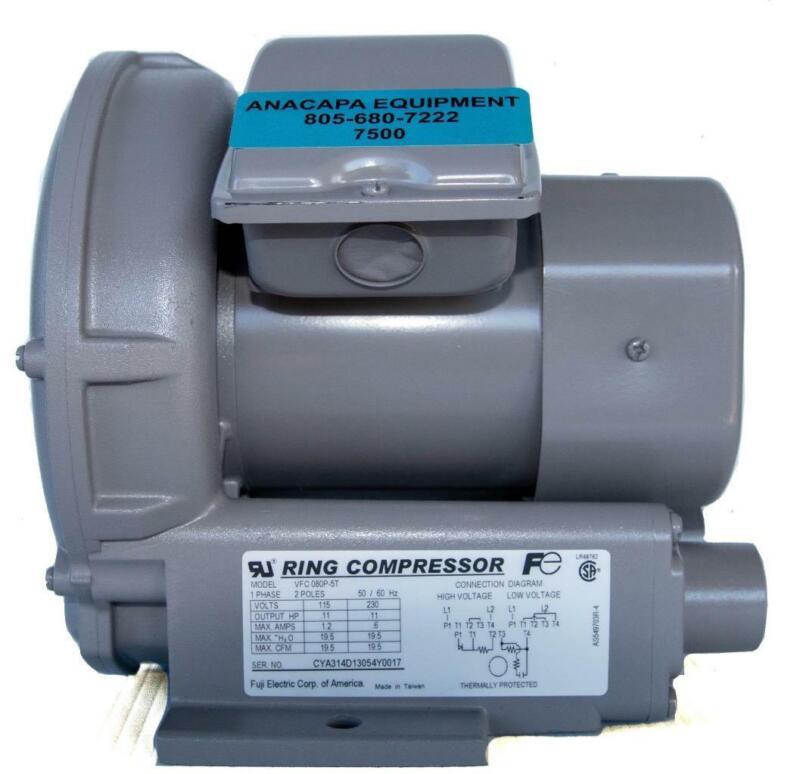Fuji VFC080P-5T Regenerative Blower .11 hp, Ring Compressor 115/230V (7500)W