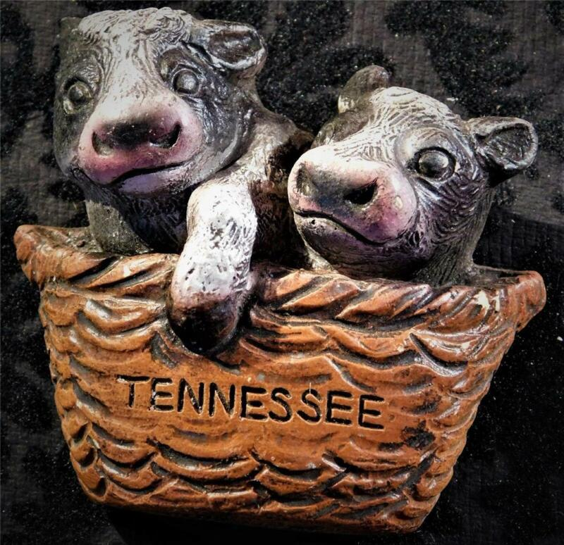 """Tennessee Refrigerator Magnet Two Baby Calfs in a Basket 3D  2-5/8"""" x 2-1/4"""""""