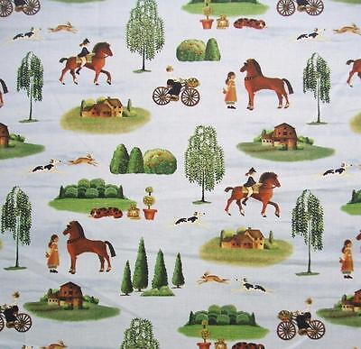 Art Craft Store (Country Store Folk Art Horse Riding WIllow Windham Cotton Fabric)