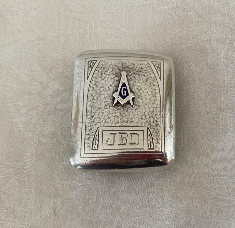 Hickok Sterling Deco Masonic Freemason Belt Buckle Compass Blue Enamel Engr JBD