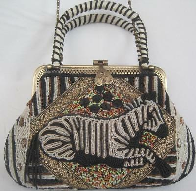 Coldwater Creek Zebra Beaded Purse Double Handles & Long Shoulder Chain Lined