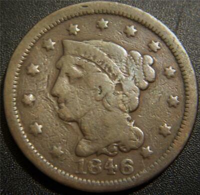 1846 Large Cent - LIBERTY is Readable. Some Hair and Leaf Details Still Shows