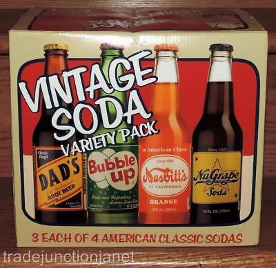 2012 USA VINTAGE SODA VARIETY PACK EMPTY 12-pk LONG NECK BOTTLE CARTON/CARRIER