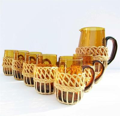 Vintage Retro Amber Glass Wicker Bar Set Jug Pitcher 6 Glasses 70's Kitsch