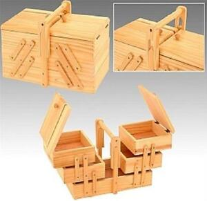 NEW VICTORIAN STYLE WOODEN SEWING THREAD BOX VINTAGE CANTILEVER STORAGE 217876
