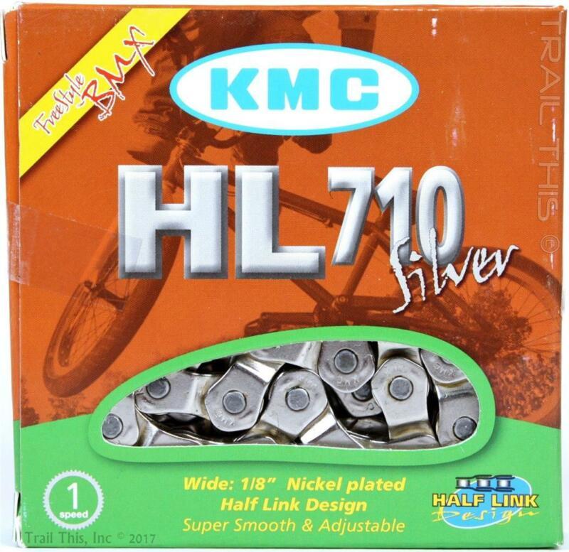 "KMC HL710 Silver Single-Speed Half-Link BMX Bike Chain 1/2"" x 1/8"" 100-Links"