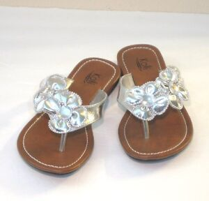 New Women Floral Stone Thong Flat Sandals Shoes Size