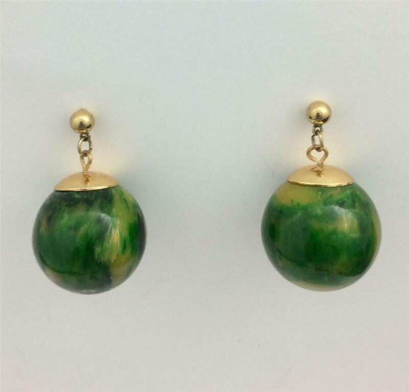 Vintage Green Marbleized Bakelite & Gold Tone Metal Ball Drop Post Earrings