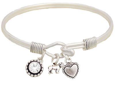 Bulldog Dog Breed Silver Wire Cuff Bangle Bracelet Jewelry Gift English - Bulldog Bracelets