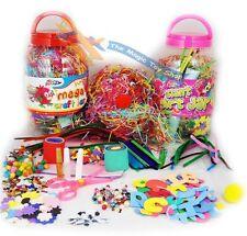 Childrens Kids Mega Craft Jar Giant Art Set Pom Poms Beads Paper Foam Letters