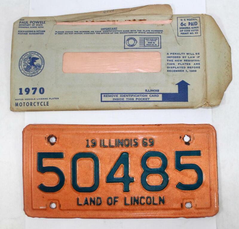Rare 1969 Illinois Motorcycle License Plate w/ Envelope ~ 50485