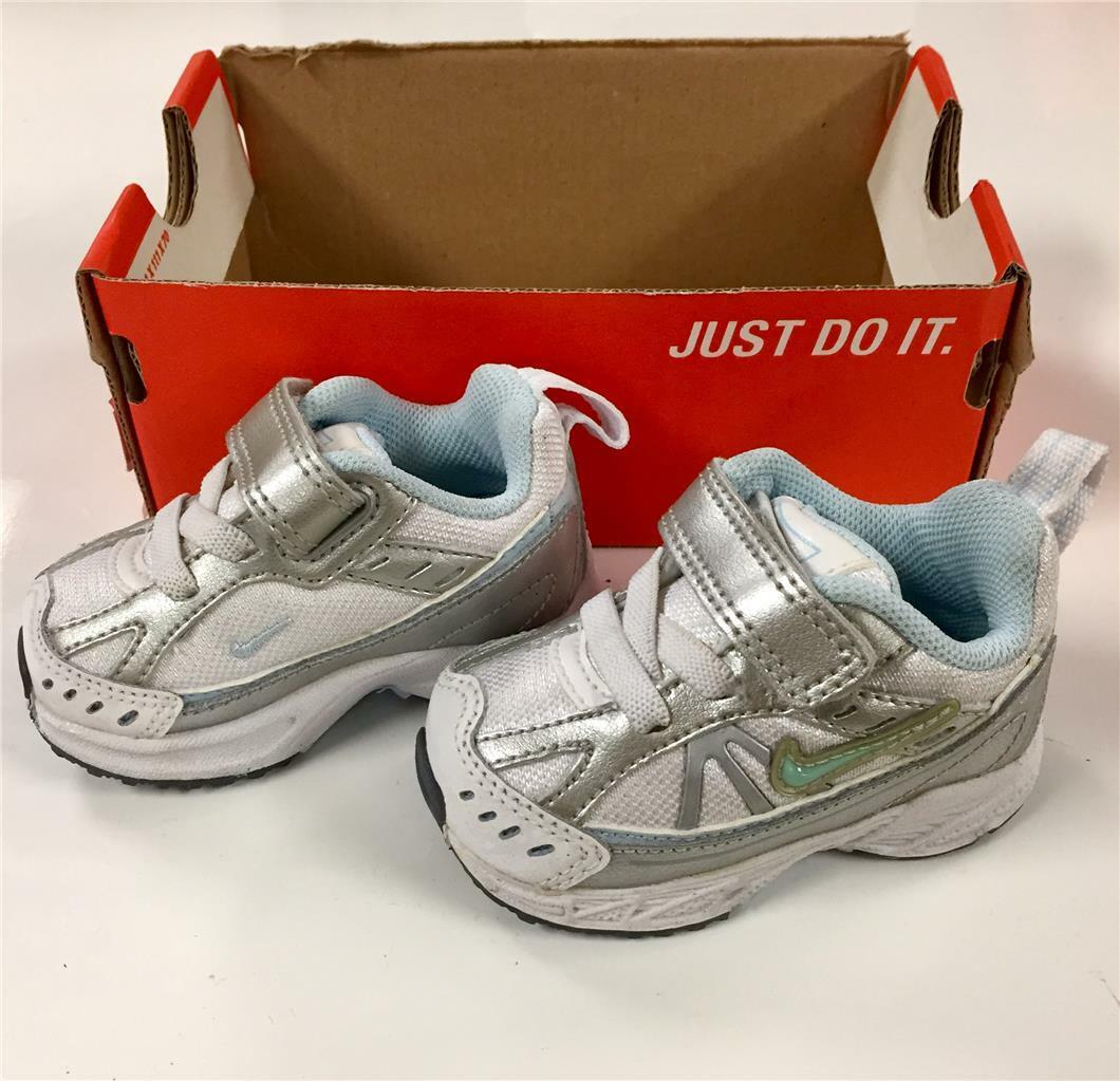 Nike LITTLE DART 6 White & Metallic Silver Baby Tennis Shoes NEW ~ Sizes 2c & 3c