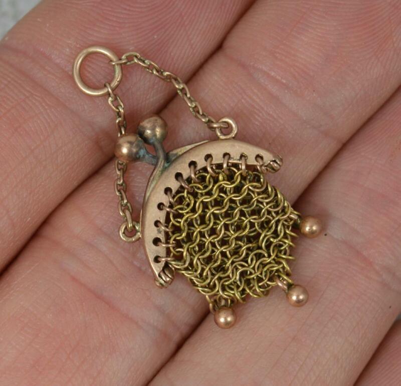 Rare Victorian 9ct Rose Gold Miniature Chainmail Bag Purse Pendant