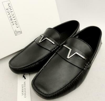 VERSACE COLLECTION Black Leather Loafers Shoes UK7 EU41 /US8 New