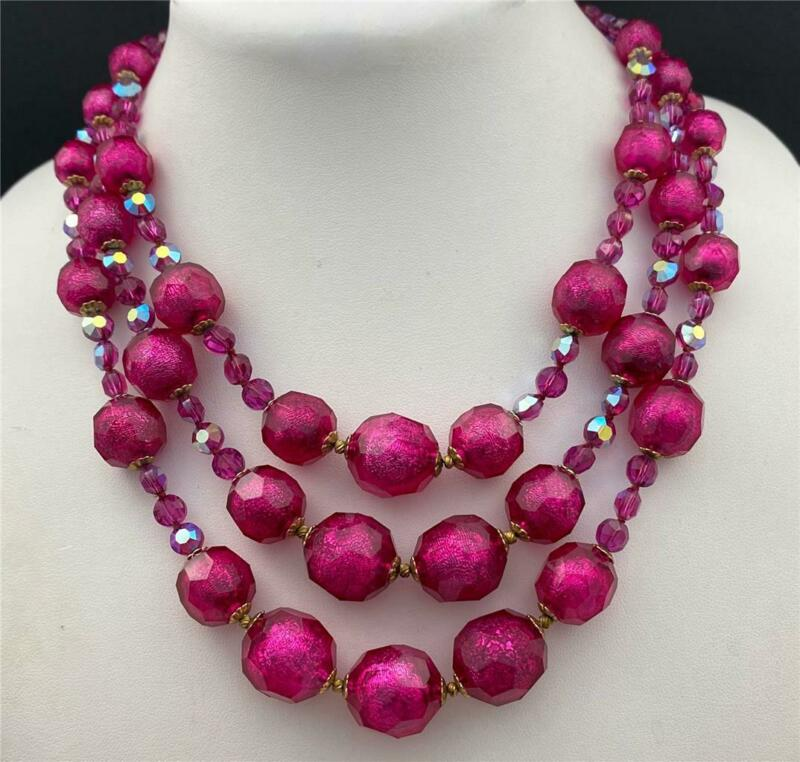 Vintage Fuchsia Pink AB Crystal & Faceted Acrylic Beads Triple Row Necklace
