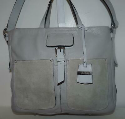 Italian A.BELLUCCI Light Gray Pebbled Leather Satchel w/Strap & Hang Fob