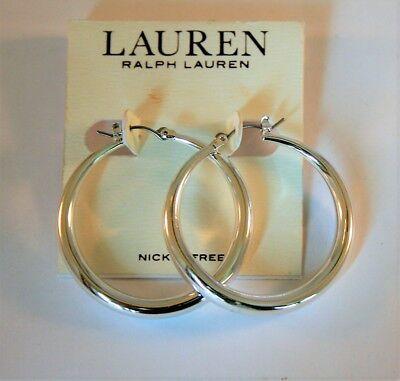 Ralph Lauren silver tone graduated hoop earrings