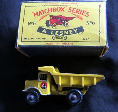 VINTAGE DIE CAST LESNEY MATCHBOX Euclid Quarry Truck No 6 BOX Metal Kid Toy