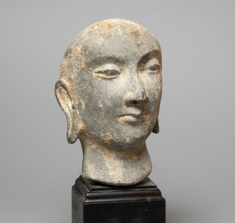 Gandhara stone Head of a Monk: 3rd century AD.