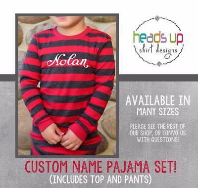 Christmas Pajamas Custom Name Personalized Kids Toddler Baby Boy or Girl Trendy ()