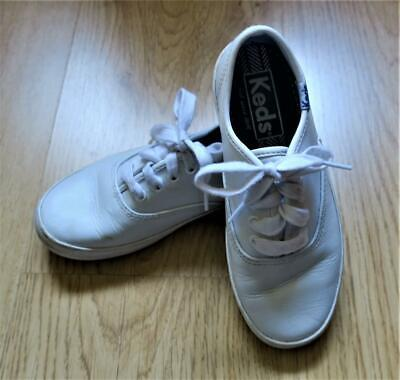 Girls KEDS White Lace Up SHOES  - LEATHER UPPERS - UK Size 11