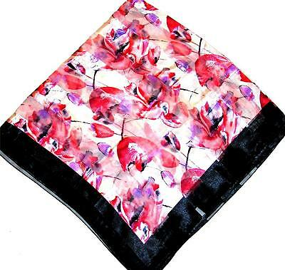 - SCARF Ivory Background Red & Purple Black Border Floral Flowers SPRING TULIPS