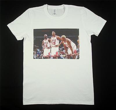 Michael Jordan Scottie Pippen Dennis Rodman White T-Shirt Size S-XXXL bulls nba