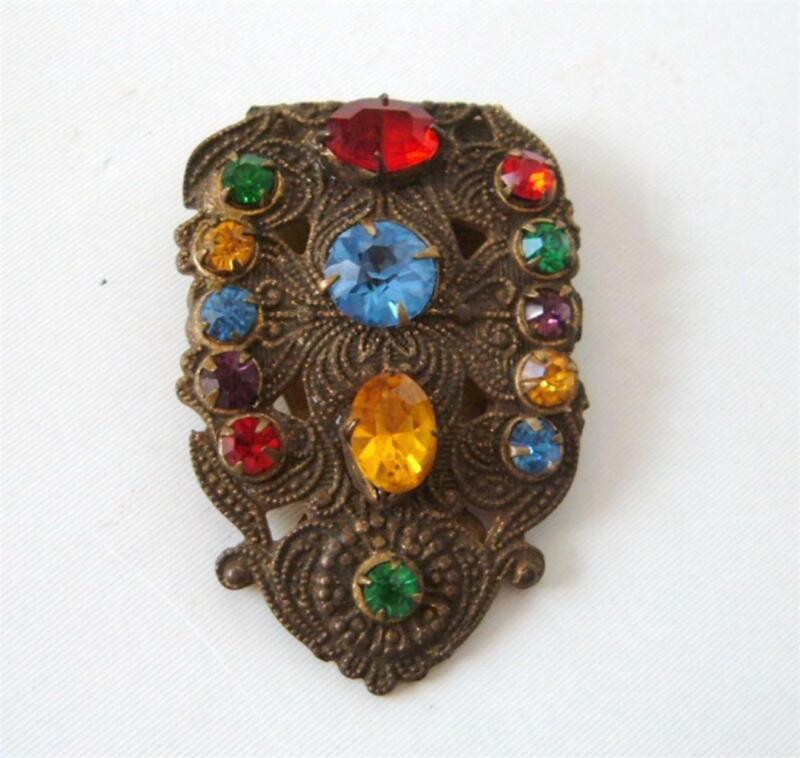 Antique Art Deco Czech Multi Color Rhinestone Dress Clip Brooch Pin Gilt Brass