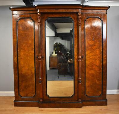 Victorian Burr Walnut Breakfront Wardrobe
