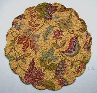 "C&F HENLEY  Quilted Scalloped 17"" Round Placemat Butterscotch Terra-Cotta Olive"