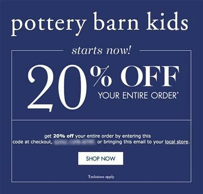 20% off POTTERY BARN KIDS coupon code online/in stores Exp 7/18/19 10 15 ()