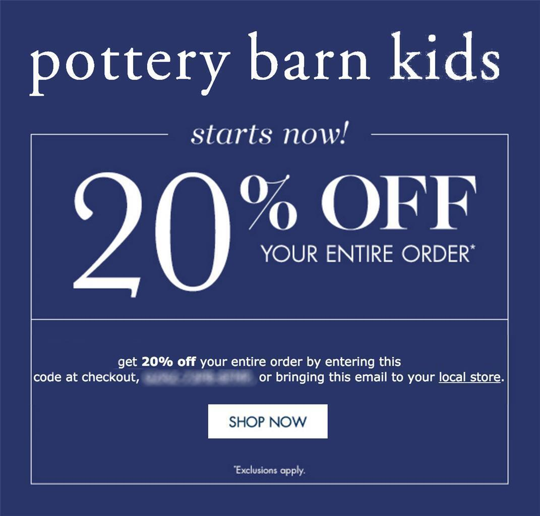 20% off POTTERY BARN KIDS coupon code online/in stores Exp 11/17/18 10 15