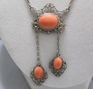Antique Victorian Sterling Silver Coral Lavalier Drop Dangle Necklace Filigree