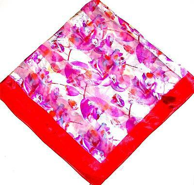 - SCARF Ivory Background Lavender & Pink Red Border Floral Flowers SPRING TULIPS