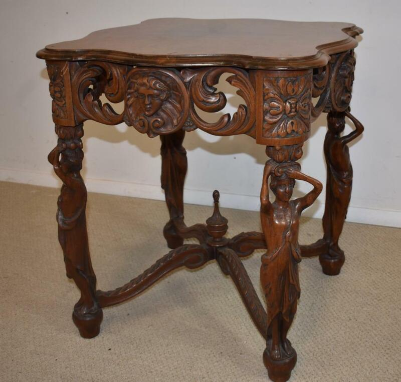 Walnut Lamp Table with Standing Carved Full Bodied Female Figures  1930