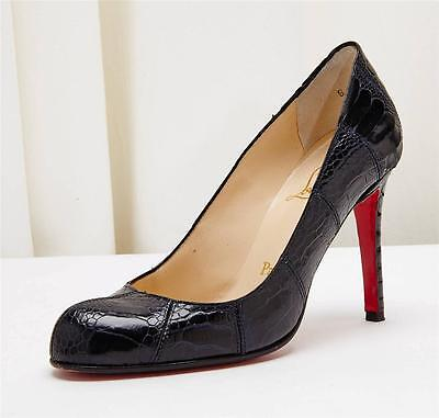 CHRISTIAN LOUBOUTIN Black Ostrich Leg Classic High Heel Pump Shoe 5.5-35.5