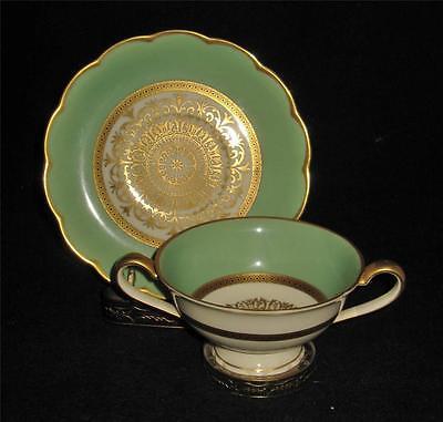 Royal Bayreuth, Mint Green, Gold Filigree, Scalloped Rim, Bouillon Cup & Saucer  Rim Bouillon