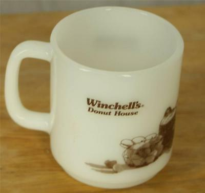 Vintage Glasbake Winchell's Donut  White Milk Glass Coffee Mug