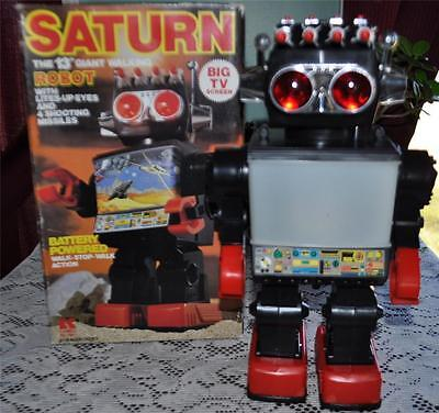 "VINTAGE  KAMCO SATURN 13"" GIANT WALKING ROBOT BOXED on Rummage"