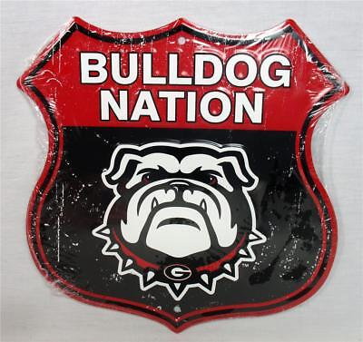 Georgia Bulldog Game (Georgia Bulldog Nation Novelty Route Badge Shield Sign Distressed Look Game)