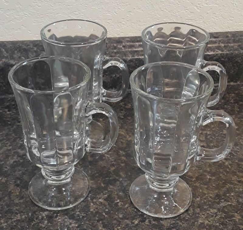 GLASS Coffee Mugs Vintage Irish Clear Pedestal Footed Cups (Set of 4)