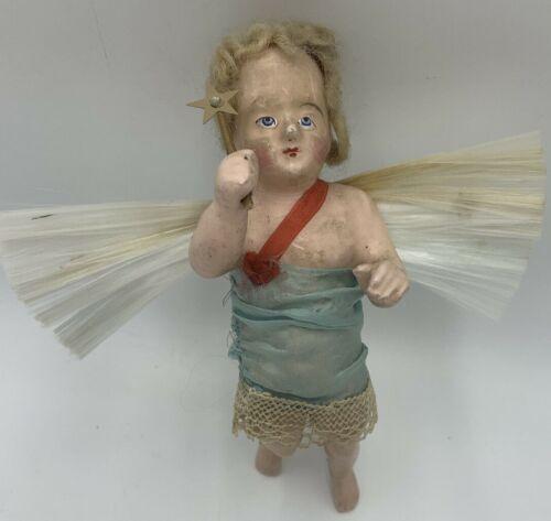 "Antique Vintage Large Wax Composition Angel German Christmas Ornament 7"""