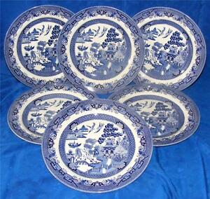6 NEW / UNUSED CHURCHILL POTTERY BLUE WILLOW DINNER PLATES - FREEPOST UK