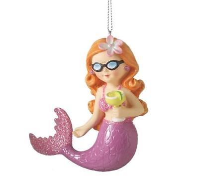 Red Headed with Pink Tail Mermaid with Margarita Resin Christmas Ornament
