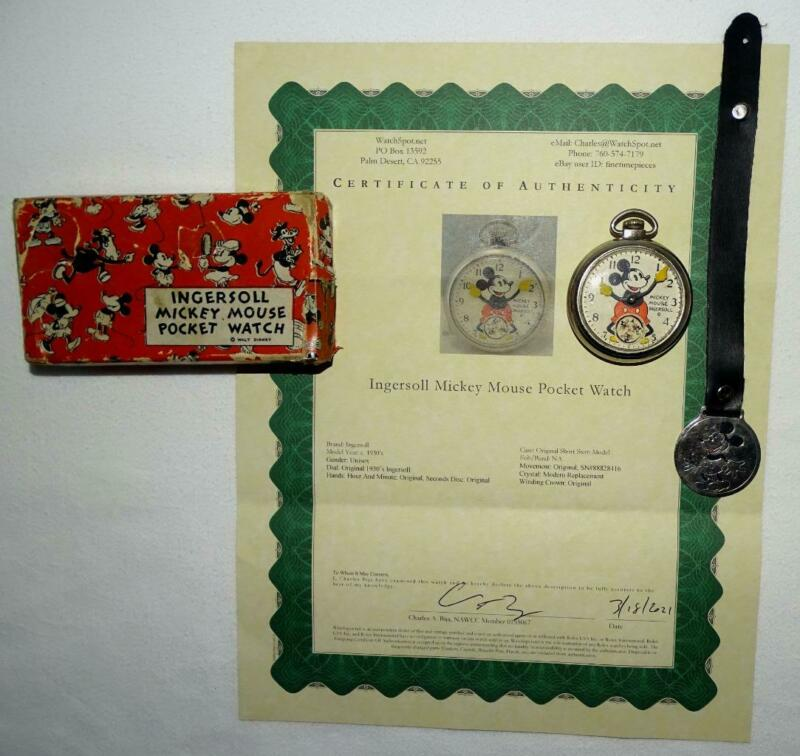 BOXED SET:DISNEY1934 MICKEY MOUSE POCKET WATCH-INGERSOLL+FOB/STRAP+SERVICED+COA!