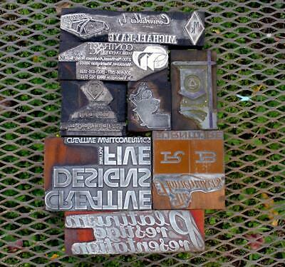 Vintage 8 Letterpress Printing Advertising Blocks Metal On Wood Ad Ink Stamps